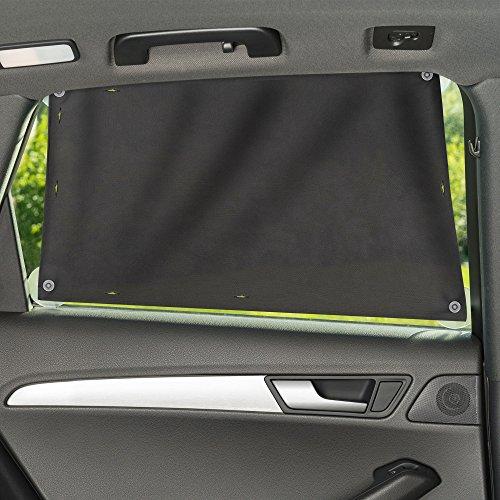 Zamboo Sonnenschutztuch/Sonnenblende fürs Auto – universaler Baby UV Sonnenschutz – einfache Saugnapf Befestigung für Seitenscheibe/Fenster – Grau