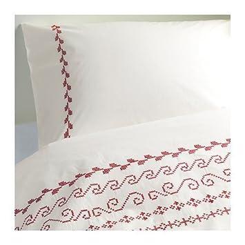 IKEA Birgit 3 Queen duvetcover Kartusche Baumwolle weiß/rot mit ...