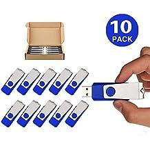 [Patrocinado] topsell 10Pack unidad flash USB 2.0Flash Drive Memory Stick Fold Pulgar de almacenamiento Stick Pen Nuevo diseño de giro negro, Azul