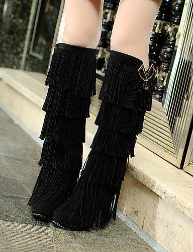 femme Xzz Eu39 Stiletto 5 Chaussures hiver Tasselblack Black Cn40 Automne Extérieure jaune Talon Bottes 5 décontracté Uk6 marron us8 Mode rrdqaZn8