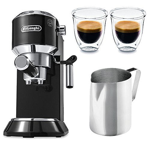 Delonghi Dedica EC 680.B Espresso Machine (Black) + 2 Free Espresso Glasses and Frothing Pitcher