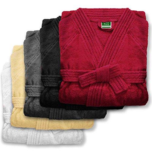 Bademantel unisex für Damen und Herren | Öko Tex Standard 100 | reine Baumwolle | viele Farben und Größen | Creme Beige Größe L Creme Beige