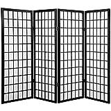 Oriental Furniture 4 ft. Tall Window Pane Shoji Screen - Black - 4 Panels