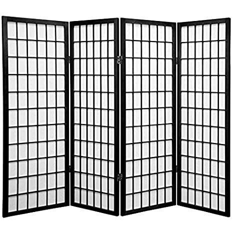 Oriental Furniture Four Foot Feet, 4-Feet Window Pane Japanese Shoji Privacy Screen Room Divider, 4 Panel Black WP48-BLK-4P