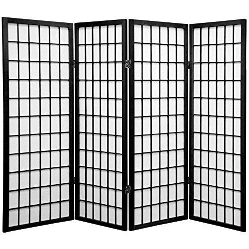 Oriental Furniture 4 ft. Tall Window Pane Shoji Screen - Black - 4 Panels ()