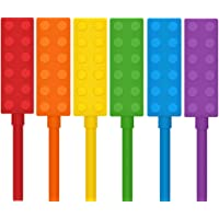 Chewable Pencil Toppers for Sensory Kids Boys and Girls (6 Pack), Silicone Rainbow Pencil Chew Toppers for Chewers with…