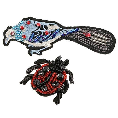 Sew-on Bird Ladybird Nail Bead Patches Embroidery Rhinestone Applique Decor
