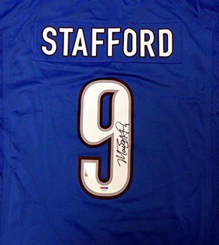 Detroit Lions Autographed Blue Jersey - Detroit Lions Matthew Stafford Autographed Blue Nike Jersey Size XL PSA/DNA