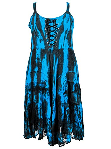 Dye Darkstar - Dark Star Plus Size Black Turquoise Tie Dye Layered Gothic Gypsy Corset Long Gown (1X+)