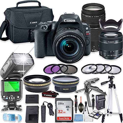 Canon EOS Rebel SL2 DSLR Camera Bundle with Canon EF-S 18-55mm STM Lens & EF 75-300mm III Lens + 32GB Sandisk Memory + Canon Case + TTL Flash + Accessory Bundle