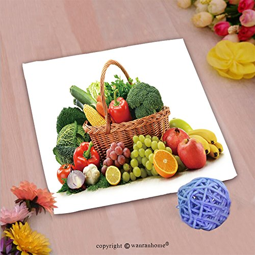 VROSELV Custom Cotton Microfiber Ultra Soft Hand Towel-composition with vegetables and fruits in wicker basket isolated on white Custom pattern of household products(14
