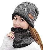 HindaWi Womens Beanie Winter Hat Scarf Set Warm Snow Slouchy Knit Skull Cap Grey
