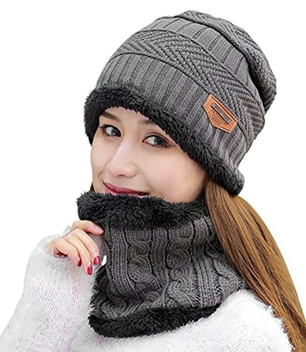 HINDAWI Womens Beanie Winter Hat Scarf Set Warm Snow Slouchy Knit Skull Cap - Wool Hat Winter