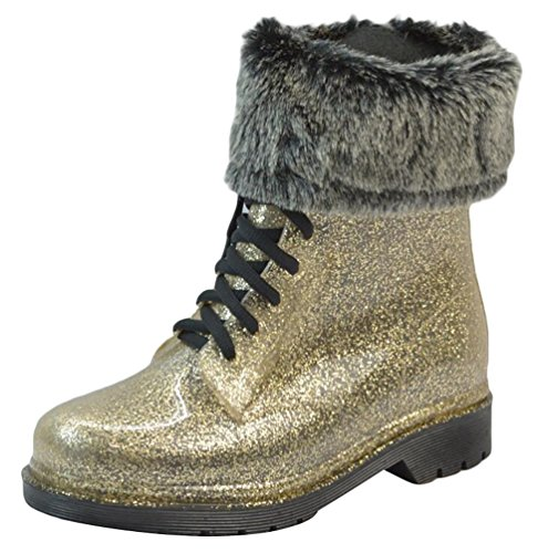 LvRao Mujeres Boots Tacones Altos Impermeable de Nieve Lluvia Zapatos Botas Cortas de Jardín de las Señoras Oro con Pelaje