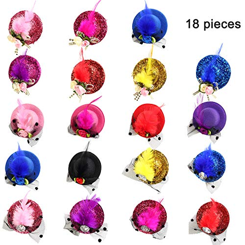 Trounistro 18 Pieces Mini Hat Hair Clip Top Hat Hair Clip Fascinator Party Hats Hair Accessories Hair Clips for Girls and Kid -