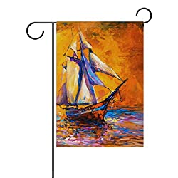 My Little Nest Double Sided Garden Flag Oil Painting Sail Boat Fade Resistant Polyester Holiday Decorative House Flag Banner 28x40