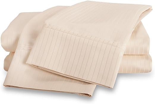 1000 hilos – algodón egipcio diseño de rayas juego de sábanas por eluxurysupply, completa, marfil: Amazon.es: Hogar