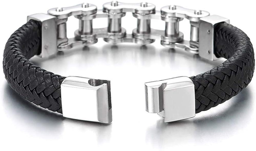 Bracelet en Cuir Tress/é Fermoir Magn/étique COOLSTEELANDBEYOND Homme Acier Inoxydable Cha/îne de V/élo Moto Bracelet