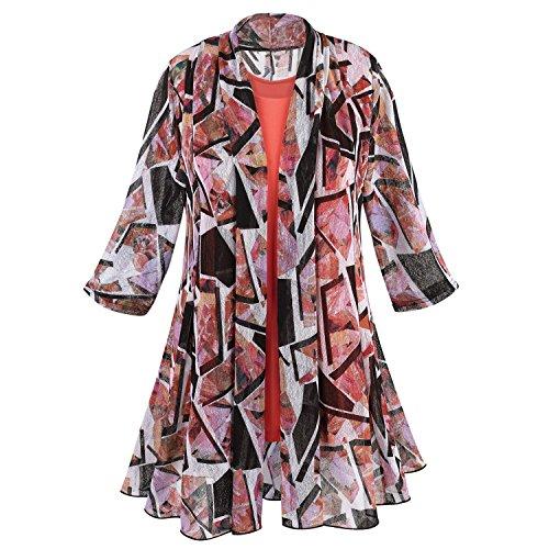 Womens Postcard Print Tunic Jacket & Tank Top - 3/4 Sleeve