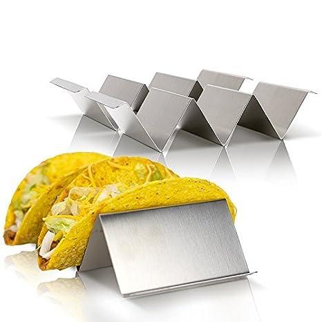 Material de soporte de crepe de material de soporte de taco mexicano Soporte de soporte de taco de material de acero inoxidable: Amazon.es: Hogar
