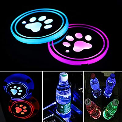 Accarparts LED Cup Holder Lights, Pet Dog Paw Logo Car Coaster with 7 Colors Changing USB Charging Mat, Luminescent Cup Pad Interior Atmosphere Lamp 2PCS: Automotive