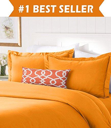 Elegant Comfort #1 Best Bedding Duvet Cover Set! 1500 Thread Count Egyptian Quality Luxurious Silky-Soft WRINKLE FREE 3-Piece Duvet Cover Set, Full/Queen, Elite Orange (Bed Comforter Set Elite)