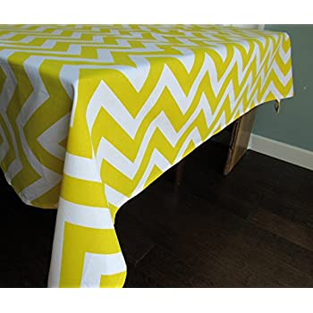 Yellow Chevron Cotton Square Tablecloth   Crabtree Collection (60 X 60  Square)