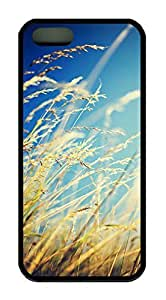 Autumn Grass Theme Case for IPhone 4 4S Rubber Material Black