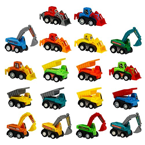 Toy Cars Mini Pull Back Construction Vehicles 18 Pcs Party Favors Cake Decorations Topper Kit Set Small Bulldoze Excavator Dump Truck Preschool Learning for Toddlers Kids Easter Egg Fillers Stuffers
