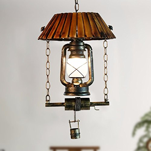 HQLCX Chandelier Retro Lantern Kerosene Lamp Iron Bar Bamboo Chandelier Nostalgic Dining Room by HQLCX-Chandeliers