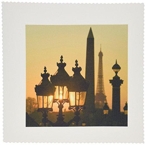 3dRose QS_81473_1 Place de la Concorde, Eiffel Tower, Paris, France-EU09 DBN0760-David Barnes-Quilt Square, 10 by 10-Inch
