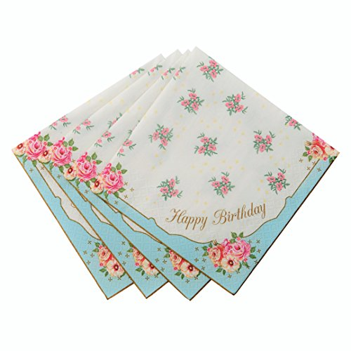 Talking Tables Tea Party Happy Birthday Floral Napkins | Truly Scrumptious | Also Great For Birthday Party, Baby Shower, Wedding And Anniversary | Paper, 20 Pack - TS3-NAPKIN-HB