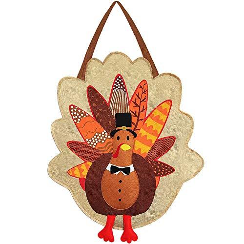 FORUP Turkey Burlap Door Decor, Thanksgiving Turkey Door Sign, Fall Thanksgiving Decorations, Garden Flag, Turkey Front Door Hanging Sign (Turkey Hanger)
