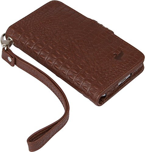BellaVita Allegro iPhone 6 Leather Wristlet, in espresso croc