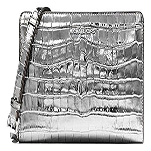 Michael Kors Jet Set Travel Metallic Embossed-Leather - Crossbody Clutch - Gunmetal - 32F7MF5C3K-041