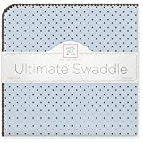 SwaddleDesigns Ultimate Winter Swaddle, X-Large Receiving Blanket, Made in USA, Premium Cotton Flannel, Brown Polka Dots on Pastel Blue (Mom's Choice Award Winner)