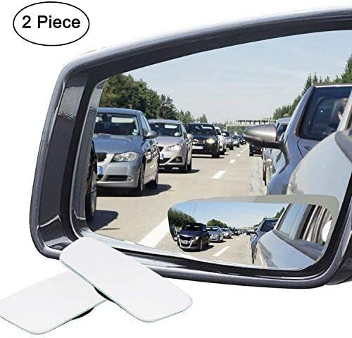 Ampper HD Glass Frameless Convex Rear View Mirror Slim Square Blind Spot Mirror Pack of 2