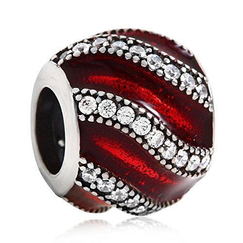 Red Ceramic Charm Sterling Silver Stripe Crystal Charm Spacer Bead Birthstone Birthday Charm Valentine