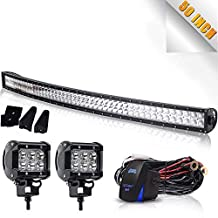 TURBOSII DOT 50 Inch Curved Dual Row Offroad Led Light Bar Wiring Harness Kit Windshield Roof Bumper Lights for Truck Jeep Wrangler Xj Silverado Chevy Tahoe Gmc Dodge Ram Suv Atv Utv Toyota Ford 12v-24v