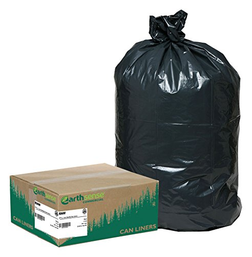 75% Recycled Trash Bags - Earthsense Commercial RNW4760 Can Liner, 43 x 47, 56 gal Glutton, 1.65 mil, Black (Pack of 100)