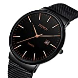 Black Mens Watches with mesh Band Casual Business Wristwatch...