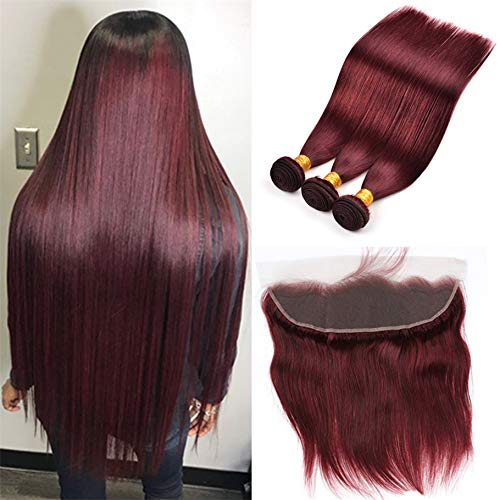 Brazilian Virgin Hair 99j Burgundy Straight Hair Weaves 3 Bundles with Lace Frontal 13x4 Free Part Red Wine Color 100% Unprocessed Human Hair Weft Weaves (18 20 22 with 16F, 99j/burgundy/wine red)