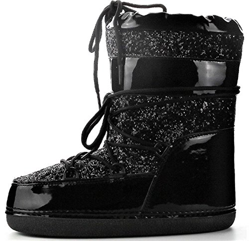 Glitter Women 11 Black Snow Boots MB Moon Black Lace High CAPE Up ROBBIN Ski Winter Ankle tqPEEZ