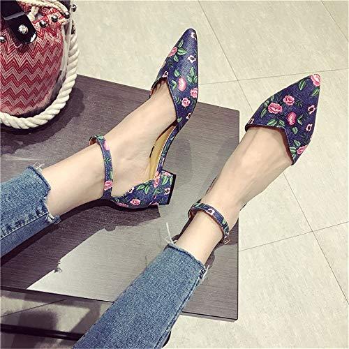 UE Sandalias FLYRCX EU Flores de de de con de señoras 41 Planos 40 Zapatos Zapatos Zapatos Estilo Europeo Trabajo Moda de Zapatos Puntiagudas YWYRO4Bfr