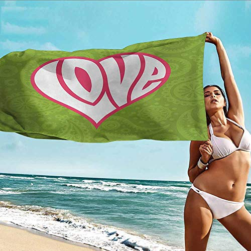 - Antonia Reed Custom Bath Towel Groovy,Heart on Paisley Background Centre of Love Valentines Nutrient Retro Design,Green White Pink,Multipurpose for Bathroom,Hotel,Gym and Spa20 x39 inch