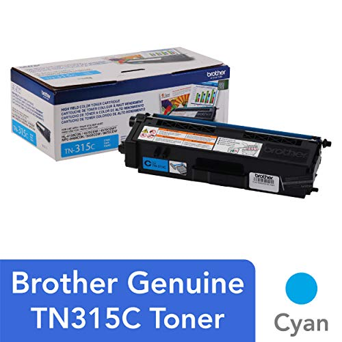 Brother Genuine High Yield Toner Cartridge, TN315C, Replacement Cyan Toner, Page Yield Up To 3,500 Pages, TN315