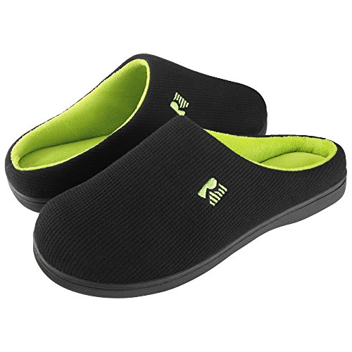 RockDove Two-Tone Memory Foam Slippers for Men, Breathable Waffle Texture Spring Summer House Shoes w/Indoor Outdoor Sole (9-10 D(M) US, Black/Lime)