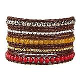 KELITCH Mix Beaded with Metal Bead Bracelet on Leather 5 Wrap Bracelet Handmade New Top Jewelry (Yellow)