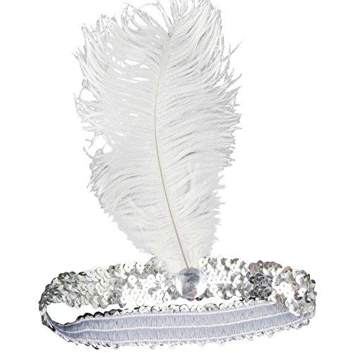 biduck99 Ladies Flapper Headband Ostrich Feather Headpiece Elastic Sequins Belt - - Charleston Headwear
