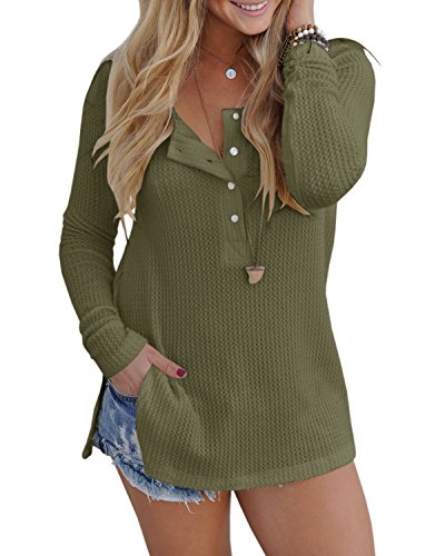 Pretifeel Womens Long Sleeve Knit Tunic Blouse Henley Shirts Split Side Sweater with Button Details by Pretifeel